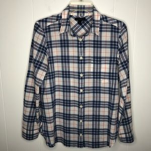 J. Crew women's top red white blue plaid size 6